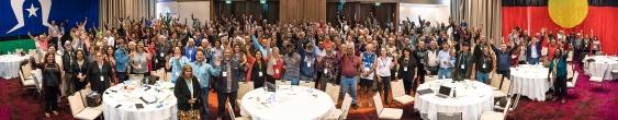 Group cheering at Uluru Constitutional Convention in 2017