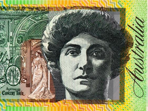 A portrait of Dame Nellie Melba on Australia's $100 banknote.